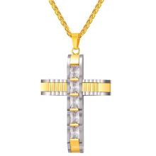 China Wholesale Men Fashion Edelstahl Kette Kristall Kreuz 24K Gold Schmuck Halskette Modelle