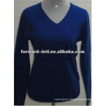 cashmere kntted v neck pullover for lady