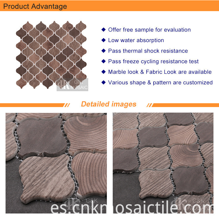 Brown Natural Wood Lantern Printing Recycled Glass Tile (1)