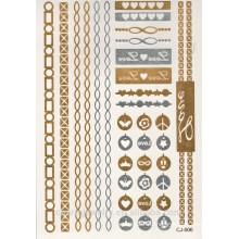 OEM 2015 nuevas etiquetas engomadas de los tatuajes del oro / de plata venta al por menor / textura metálica / metal de la seguridad y ambiental CJ006