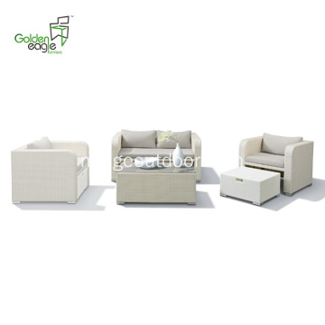 4pcs aluminium outdoor furniture rattan UV-resistant