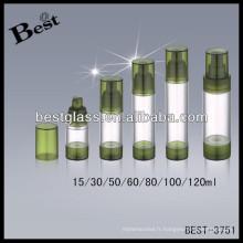 Bouteilles airless acryliques rondes de 80ml avec la pompe de pp; Flacons de lotion acrylique 50/60/100 / 120ml avec lèvre, décapsuleur en acrylique