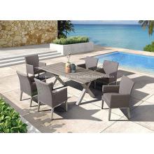 Ensemble de 6 chaises et table rectangulaire en aluminium de jardin
