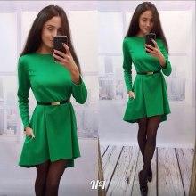 2016 manches longues Pure Color Seam Detail Dernières robe de mode Fashion Fashion Tunic