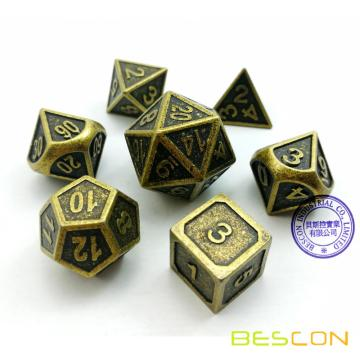 Bescon New Style Alten Messing Solid Metal Polyhedral D & D Würfel Set von 7 Messing Metallic RPG Rolle Spielen Spiel Dice 7pc Set D4-D20