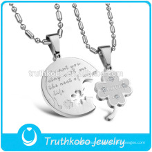 """TKB-JP0166 """"I want you stay with me the rest of my life""""2015 hot sell couple jewelry with clover stainless steel pendant"""