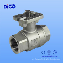 Ce Stainless Steel 2PC Thread Ball Valve with ISO5211 Mounting Pad