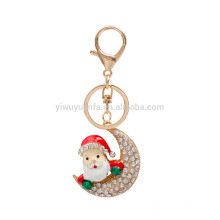 Christmas Keychain Cut Red Santa Claus And Moon Floating Full Crystal Custom Metal Key Ring