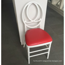 White Resin Plastic Phoenix Chair with Red Cushion