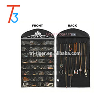 Black Jewelry Hanging Non-woven Organizer Holder 32 Pockets 18 Hook and Loops