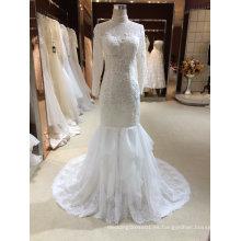 Sirena cabestro vestido de boda de tul de manga larga