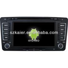 Android System lecteur dvd de voiture pour VW Skoda Octavia avec GPS, Bluetooth, 3G, ipod, jeux, double zone, contrôle du volant