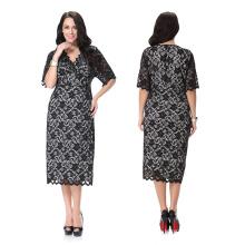 Premium-Material Polyester weiten Bereich Größe Frauen tragen meistverkauften Sex schwarzen Spitzenkleid