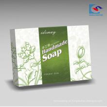 Caixa de empacotamento de papel dos sabões luxuosos rígidos personalizados por atacado para o sabão Handmade natural