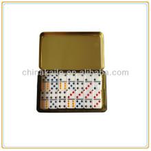 Domino-Set mit Eisen-Box / Blechdose