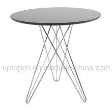 Круглый Покрынный порошок ресторан стол с хромированными стальными ножками (СП-GT142)