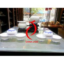 Jingdezhen Underglaze azul com arroz padrão chá conjunto