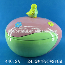 Hand painting Easter ceramic storage jar