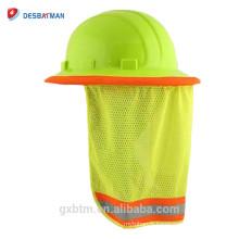 Abat-jour dur de cou de chapeau de maille de polyester de chaux de salut-vis, bouclier de soleil de casque de sécurité de visibilité élevée avec la bande réfléchissante