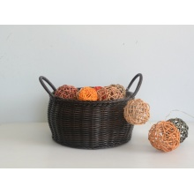 Round coffee drum-like plastic rattan basket