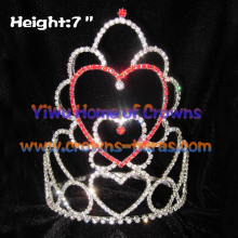 Rot Pink Crystal Heart Shaped Valentines Kronen
