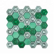 Hot selling Glazed Crystal Glass Hexagon Mosaic Tile
