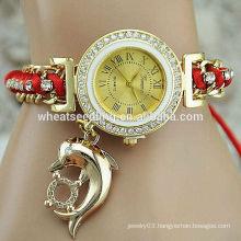Geneva dolphin pendant Bracelet Wristwatch Fashion Ladies Watches vintage retro wrap bracelet watch