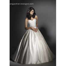 Ball Gown Sweetheart Chapel Train Satin Beading Ruffled Wedding Dress