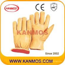 Amarillo de cuero de vaca grano de conductor de cuero industrial de trabajo de invierno guantes de trabajo (12304)