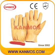 Yellow Cowhide Grain Driver Leather Промышленные зимние защитные рабочие перчатки (12304)