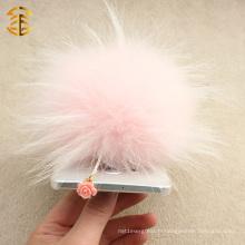 Vente en gros de boutons de poussière de téléphone cellulaire mignon avec la prise de téléphone portable véritable Fox Fur Pom Poms