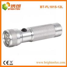 Fabrik Versorgung CE genehmigt bunte 3 AAA Batterie Aluminium Tasche Größe 12 LED Metall Taschenlampe
