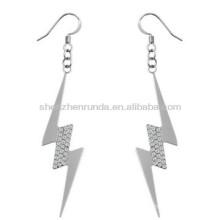 Rhinestone lightning shape drop earring silver plated 316L stainless steel hypoallergenic fashion women jewellery