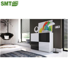 Black and white side cabinet high gloss panel wood furniture