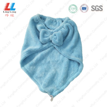 Bowknot light blue hair using towel