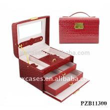 caixa de joia de couro com croco padrão da venda quente