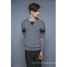 100% Cachemira de manga larga cuello redondo Knitting hombres suéter