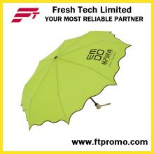 Manual 3-seção aberta guarda-chuva de dobramento
