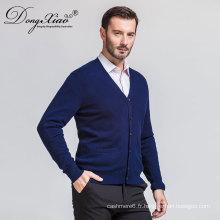 Pull cardigan saisonnier des hommes bleu foncé sexy de V de promotion avec la meilleure qualité