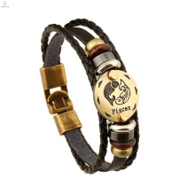 Personality Vintage12 Constellations Engraved Zodiac Jewelry Leather Bangle Bracelet