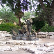parque temático escultura metal craft leão de bronze e estátua do tigre