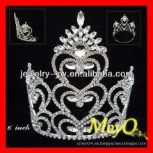 Diseño de pavo real y de corazón de la manera Corona de cristal grande de la tiara del desfile