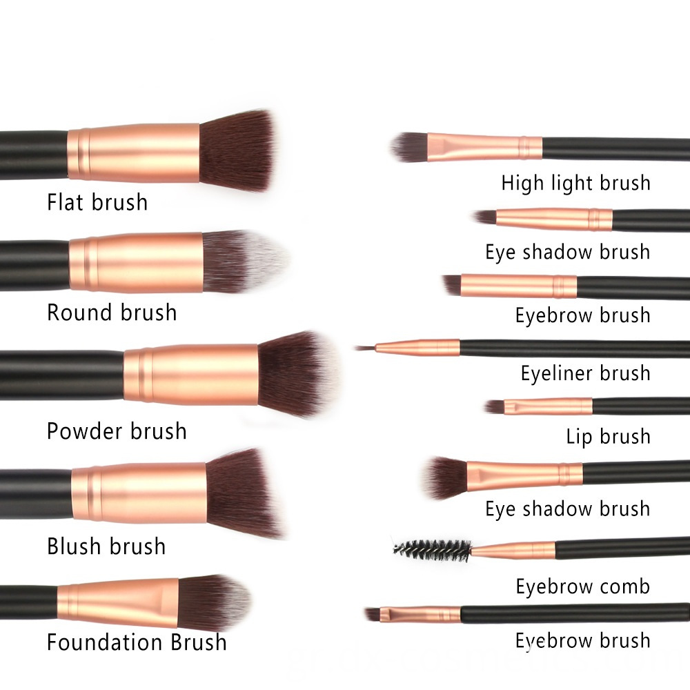12 Pieces Goat Hair Wood Handle Makeup Brushes Sets 4