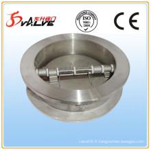 Valve de retenue de plaque à double plaque, acier inoxydable 316, Dn40-Dn900