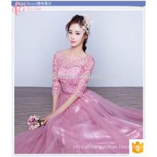 Glorioso Pink Long Lace Plain Dyed Plus Size Barato Vestido de dama de honra de manga curta