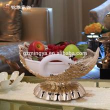Vente chaude de décoration maison en gros MOQ décoratif décoré en pierre peacock fruits en résine compote de matériaux