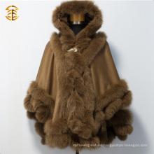 Nueva cachemira de la manera con la piel del ajuste de la piel Capuchones de la piel del Fox de las capas para las mujeres