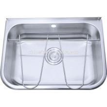 Stainless steel basin stand for washing floor in design kitchen