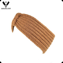 Lady′s Solid Brown Thick Knitted Winter Headband