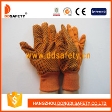 Orange Canvas Woking Gloves, PVC Dots Dcd302